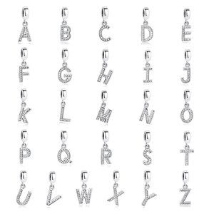 925 Sterling Silver Alphabet A-Z Letter Charm Bead